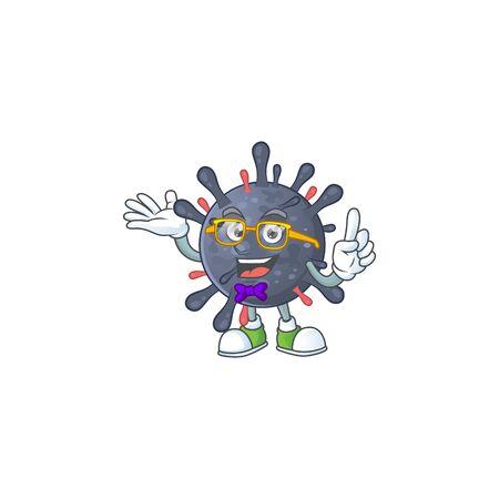 Super Funny coronavirus epidemic in nerd mascot design style