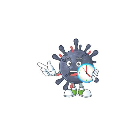 cartoon character style of cheerful coronavirus epidemic with clock Ilustração