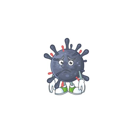 Coronavirus epidemic mascot design style with worried face