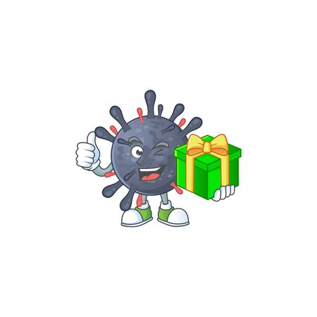 Cheerful coronavirus epidemic cartoon character holding a gift box