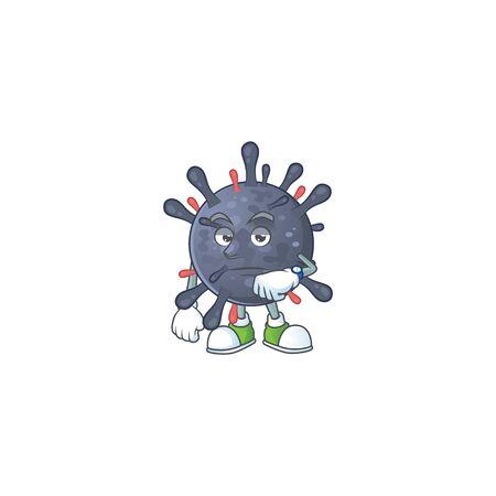 A cartoon icon of coronavirus epidemic with waiting gesture