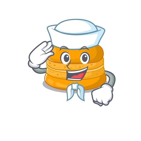 Cute orange macaron Sailor cartoon character wearing white hat. Vector illustration