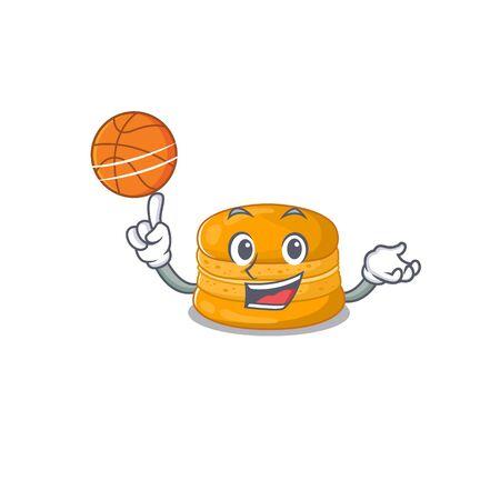 A sporty orange macaron cartoon mascot design playing basketball. Vector illustration
