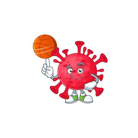 Attractive coronavirus amoeba cartoon design with basketball. Vector illustration