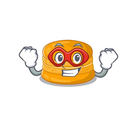 A picture of orange macaron in a Super hero cartoon character. Vector illustration