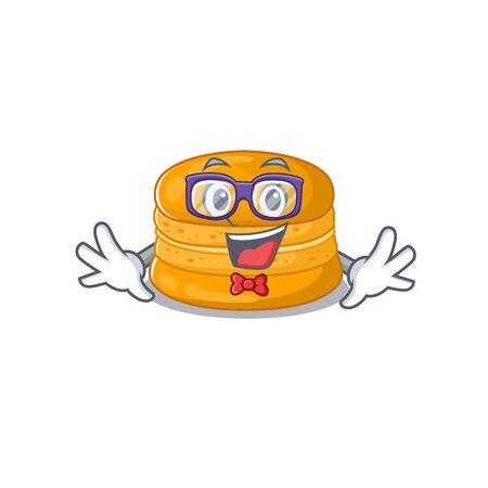 Super Funny Geek orange macaron cartoon character design. Vector illustration