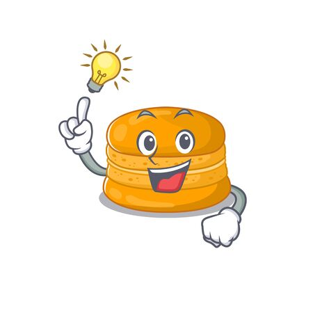 Have an idea gesture of orange macaron mascot character design. Vector illustration