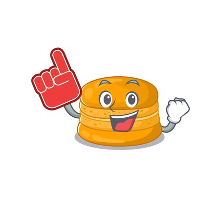 Orange macaron mascot cartoon style with Foam finger. Vector illustration
