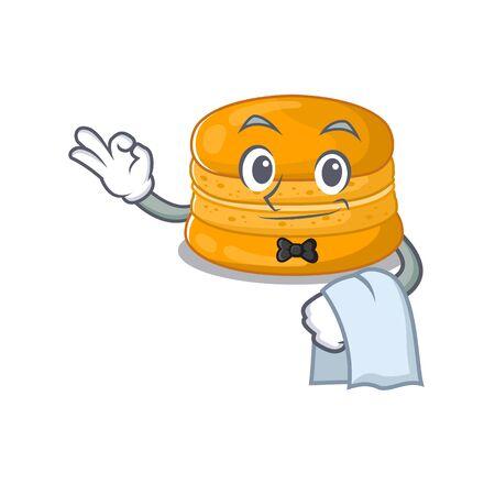 A design of orange macaron cartoon character working as waiter. Vector illustration