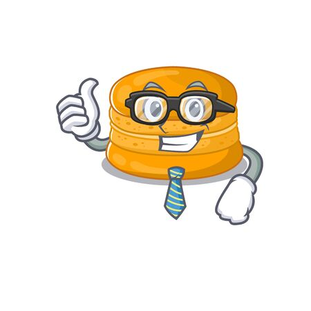Orange macaron Businessman cartoon character with glasses and tie. Vector illustration