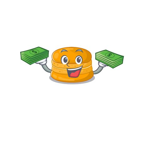 happy face orange macaron character having money on hands. Vector illustration 矢量图像