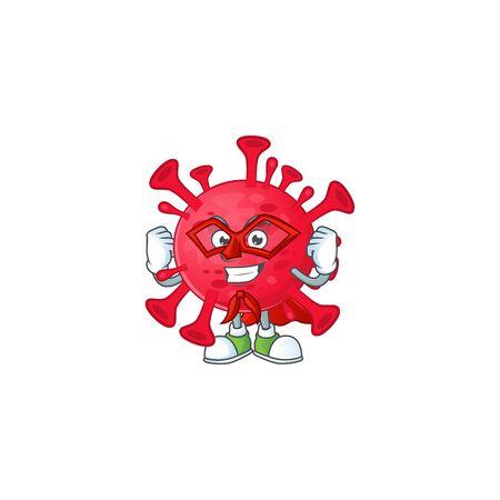 A picture of coronavirus amoeba dressed as a Super hero cartoon character