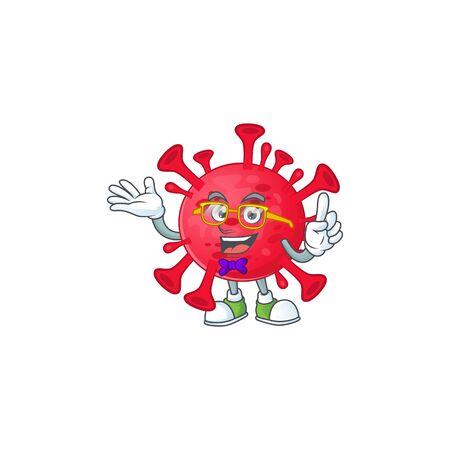 Super Funny coronavirus amoeba in nerd mascot design style