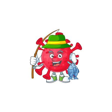 Cartoon character of funny Fishing coronavirus amoeba