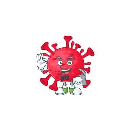 A character of coronavirus amoeba waiter working in the restaurant 向量圖像