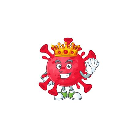 A Charismatic King of coronavirus amoeba cartoon character design