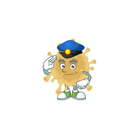 A cartoon of coronavirus particle dressed as a Police officer