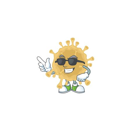 Cute coronavirus particle cartoon character design style with black glasses  イラスト・ベクター素材