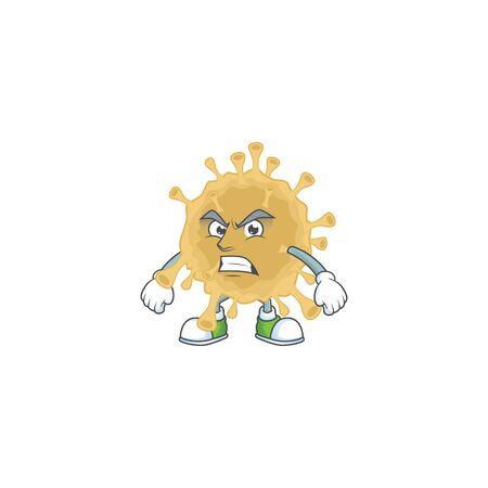 Charming coronavirus particle mascot design style waving hand