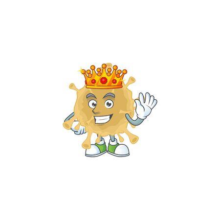 A Charismatic King of coronavirus particle cartoon character design Vektoros illusztráció
