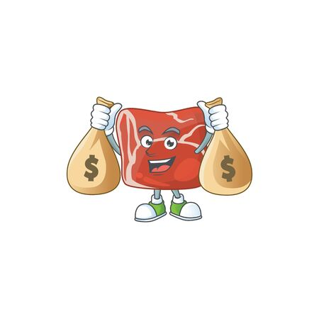 Happy rich beef mascot design carries money bags. Vector illustration