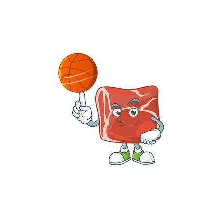 Attractive beef cartoon charcter design with basketball. Vector illustration