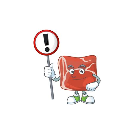 Smiling cartoon design of beef with a sign. Vector illustration