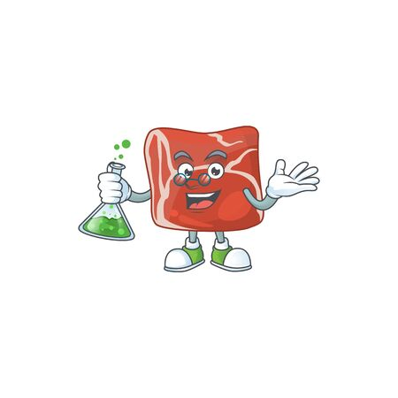 Beef brainy Professor Cartoon design grasp a glass tube. Vector illustration