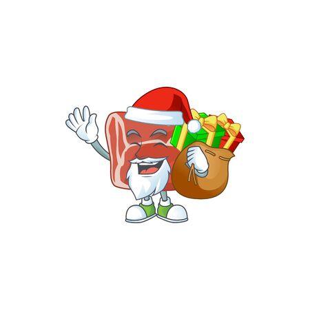 Beef Cartoon character of Santa with box of gift. Vector illustration