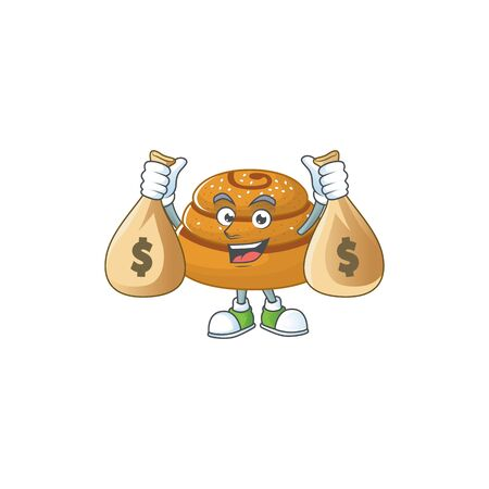 Happy rich kanelbulle mascot design carries money bags. Vector illustration  イラスト・ベクター素材