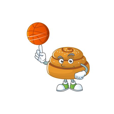 Attractive kanelbulle cartoon character design with basketball. Vector illustration  イラスト・ベクター素材
