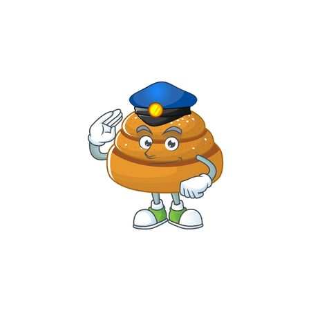 A cartoon of kanelbulle dressed as a Police officer. Vector illustration Stock Illustratie