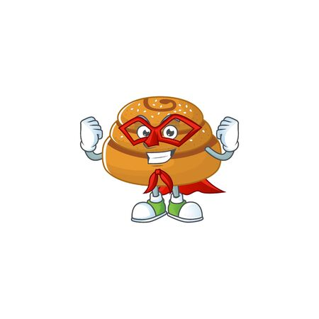 A picture of kanelbulle dressed as a Super hero cartoon character. Vector illustration