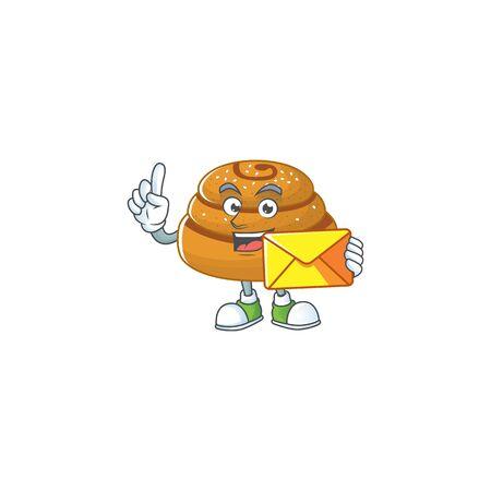 Cute face kanelbulle mascot design holding an envelope. Vector illustration
