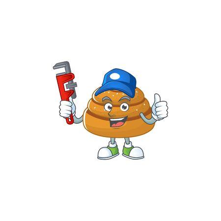 Smart Plumber worker of kanelbulle cartoon character design. Vector illustration Ilustração