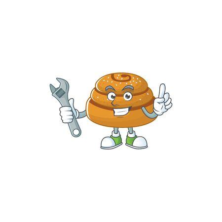 Cartoon mascot design concept of kanelbulle mechanic. Vector illustration