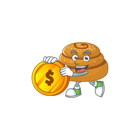 mascot cartoon character style of kanelbulle showing one finger gesture Ilustracja