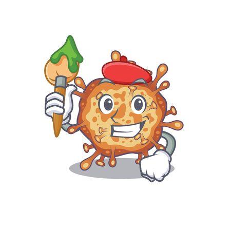 Talented retro virus corona Artist cartoon character with brush Ilustração
