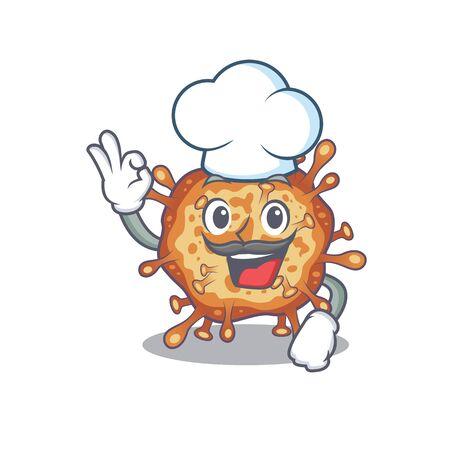 Cute retro virus corona cartoon character wearing white chef hat
