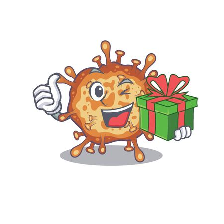 Smiley retro virus corona cartoon character having a gift box