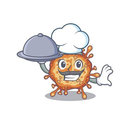 Retro virus corona as a chef cartoon character with food on tray