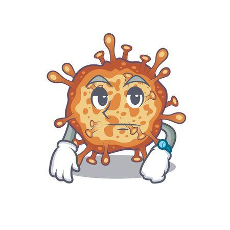 Retro virus corona on waiting gesture mascot design style Ilustração