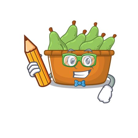 A smart student pear fruit box character with a pencil and glasses. Vector illustration