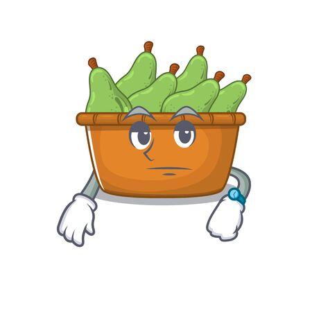Pear fruit box on waiting gesture mascot design style. Vector illustration