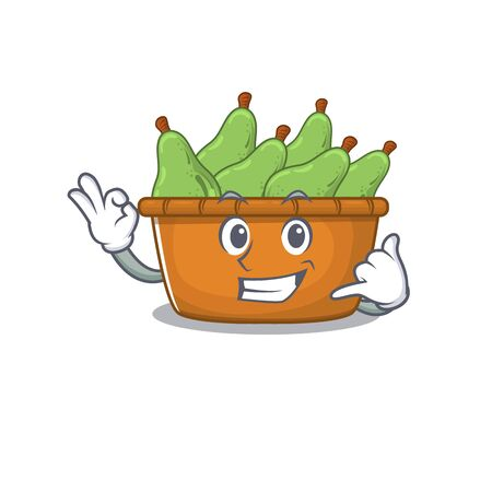 Pear fruit box mascot cartoon design showing Call me gesture. Vector illustration