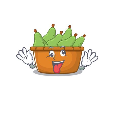 A picture of crazy face Pear fruit box mascot design style. Vector illustration