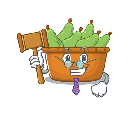 Charismatic Judge pear fruit box cartoon character design wearing cute glasses. Vector illustration Illusztráció
