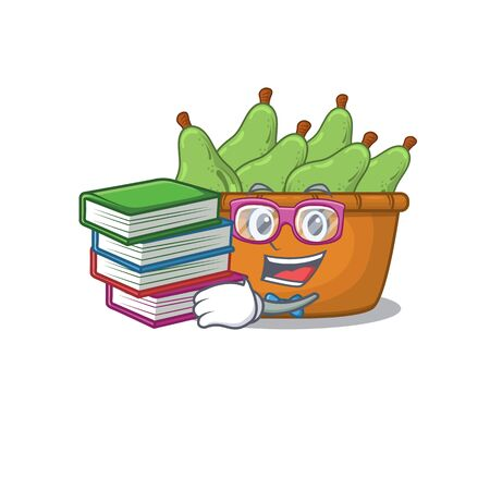 A diligent student in pear fruit box mascot design with book. Vector illustration