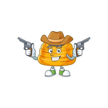Cool cowboy cartoon design of kataifi holding guns. Vector illustration