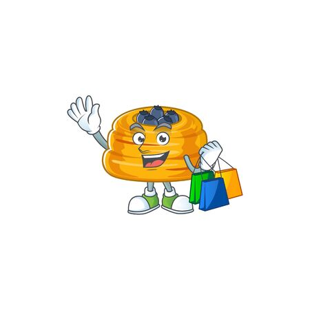 Smiley rich kataifi mascot design with Shopping bag. Vector illustration  イラスト・ベクター素材